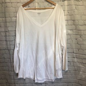 OLD NAVY white v-neck long sleeve t-shirt